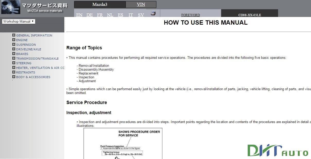 mazda 121 workshop manual volume 2 of 2
