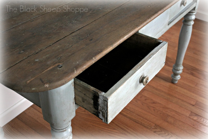 Rustic table drawer