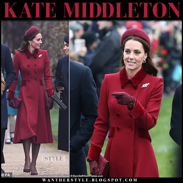 Kate Middleton in red coat, burgundy gianvito rossi pumps with red hat christmas church december 2018