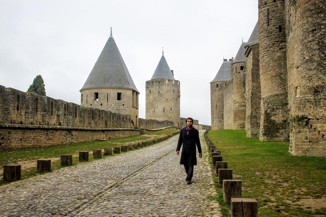 Parte intermediária entre os muros de Carcassonne.