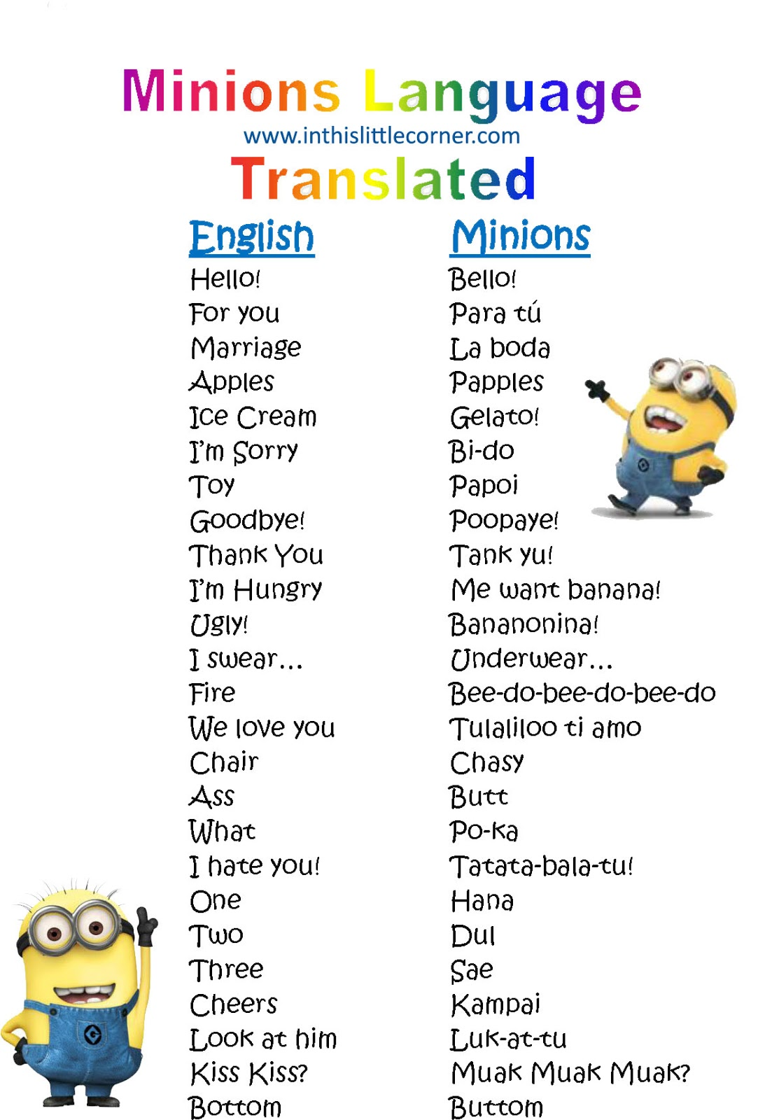 In this little corner: Minion Language Translated ...