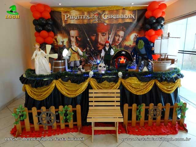 Decoração mesa tradicional luxo de tecido tema Piratas do Caribe
