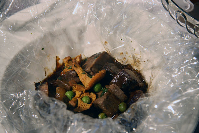 Roasted Bison Short Ribs, Chanterelles mushrooms in a bag from the Shaw Conference Centre