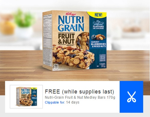 Coupon Free Nutri-Grain Fruit & Nut Medley Bars