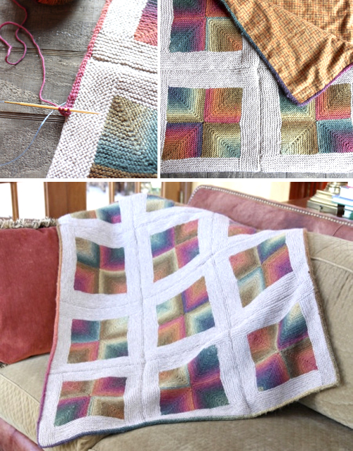Mitered Squares Throw With a Fabric Lining - Tutorial