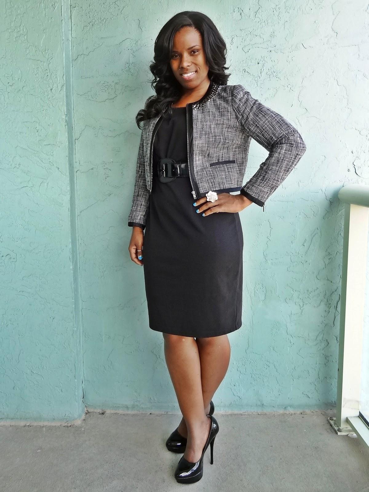 Znalezione obrazy dla zapytania black dress for work and blazer