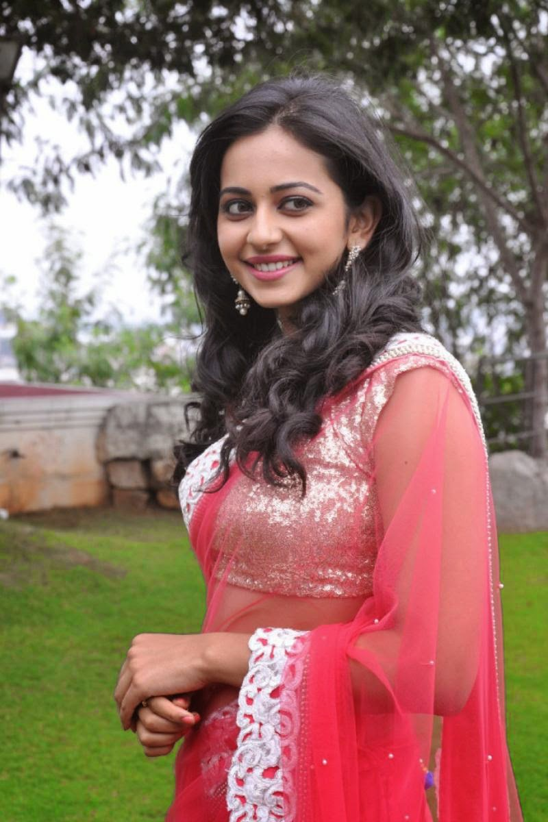 Gorgeous Actress Rakul Preet Singh Navel Hip Stills In Pink Saree