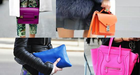 looks com bolsas coloridas