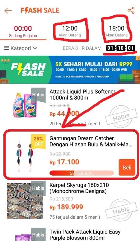 Pilih Produk Flash Sale yang Diinginkan