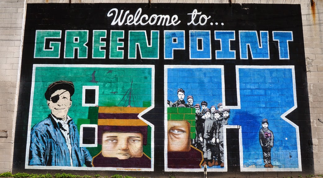 Welcome to Greenpoint Mural showing period working class people