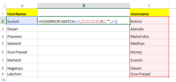 Excel Compare Two Columns to Find Duplicate Values for