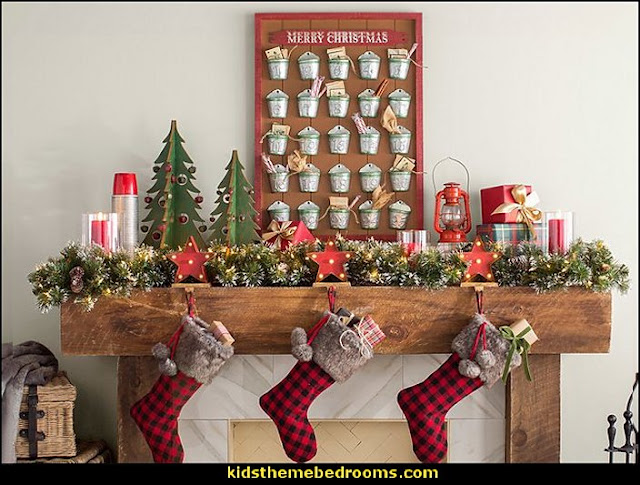 Advent Calendar Bucket Wall Decor  Rustic Christmas  decorating ideas - rustic Christmas decorations  - Vintage  -  Rustic  - Country style Christmas decorating -  rustic Christmas decor - Christmas stockings - vintage rustic christmas decorations  Rustic Glam Vintage Christmas decor -  Rustic Country Vintage christmas tree ideas - Christmas stockings