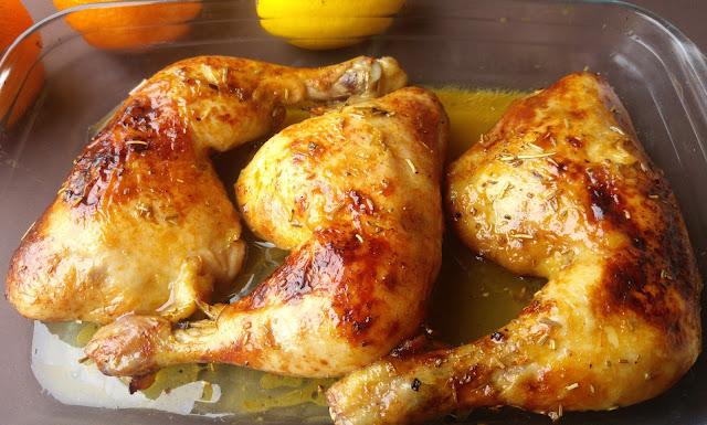 muslos de pollo asados con citricos