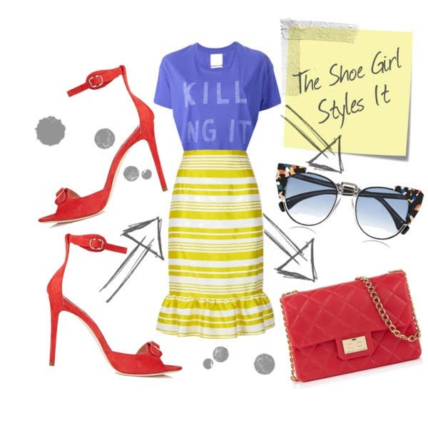 Polyvore outfit set with Vivienne Westwood sandals and striped skirt and tshirt