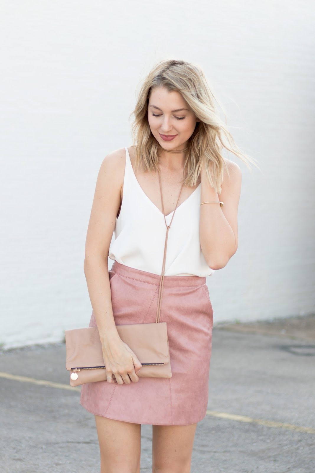 Pink Leather Mini Skirt