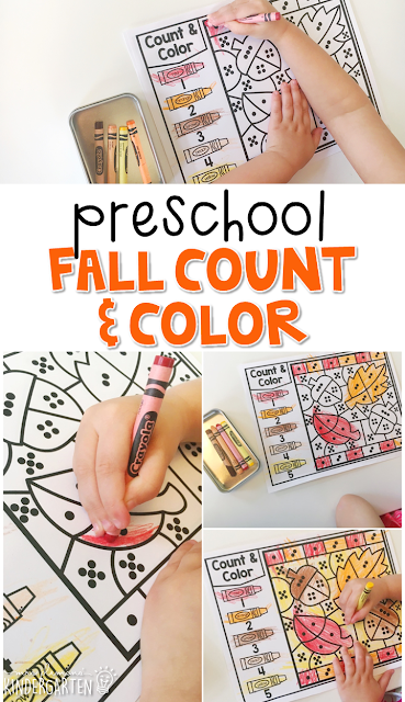 This falling leaves count & color activity is fun for number sense and fine motor practice with a fall theme. Great for tot school, preschool, or even kindergarten!