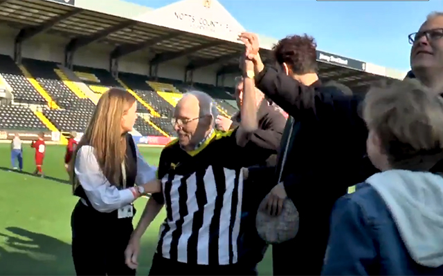 Notts County let Roy Prentice, a 94-year-old fan, scores penalty in front of home fans