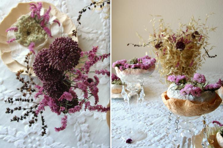matrimonio green centrotavola fiori secchi e fiori di carta color rosa-prugna