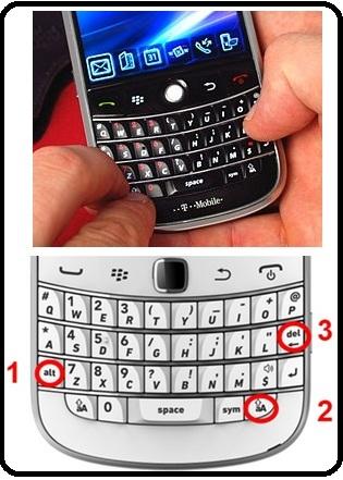kombinasi kunci atau kode rahasia pada Blackberry