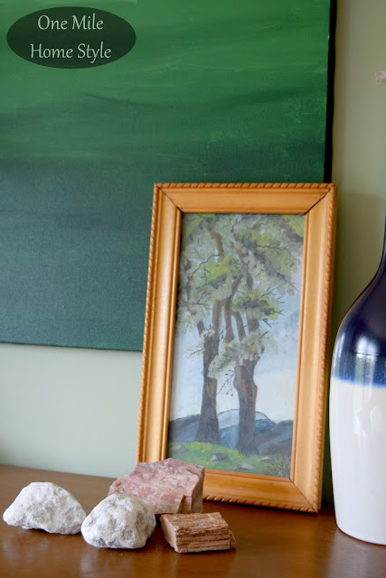Vintage Painting and Collected Stones - One Mile Home Style