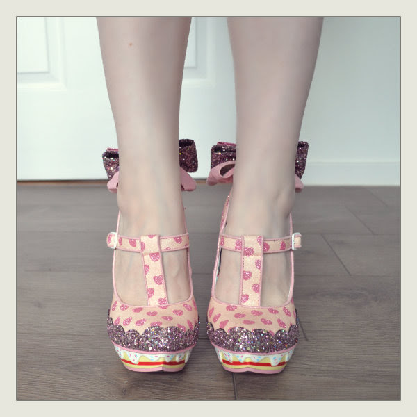 wearing irregular choice my cup of tea pink shoes front