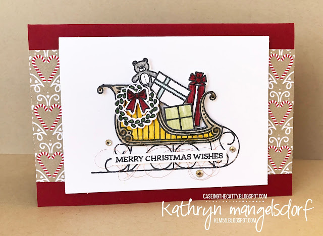 Stampin' Up! Santa's Sleigh & Thinlits, Christmas Card created by Kathryn Mangelsdorf