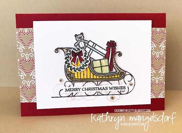 Stampin' Up! Santa's Sleigh & Thinlits, Christmas Card created by Kathryn Mangelsdorf