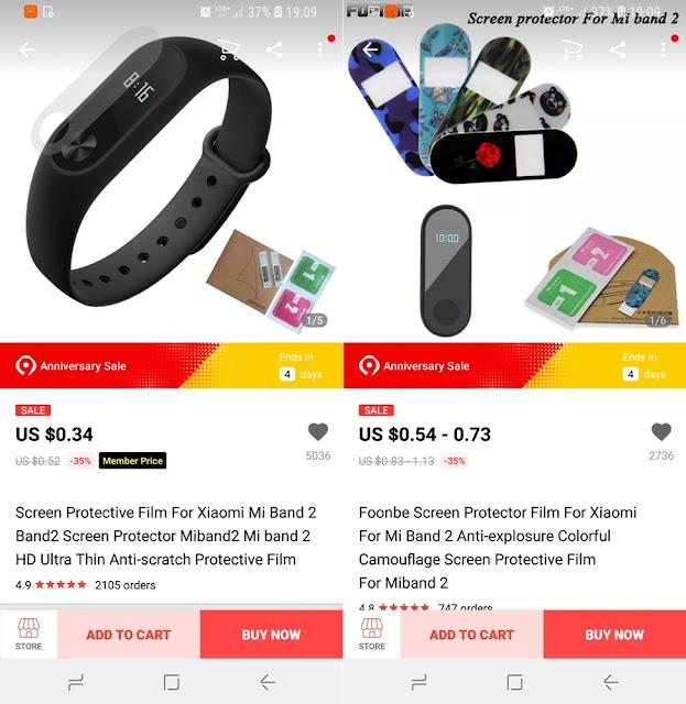 folia ochronna Xiaomi Mi Band 2 AliExpress szkło ochronne screen protector