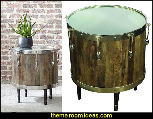 Bass Drum Accent Side Table  Music bedroom decorating ideas - rock star bedrooms - music theme bedrooms - music theme decor - music themed decorations - bedding with musical notes