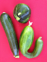Zucchini and saucer squash and sweet cucumber (l - r)