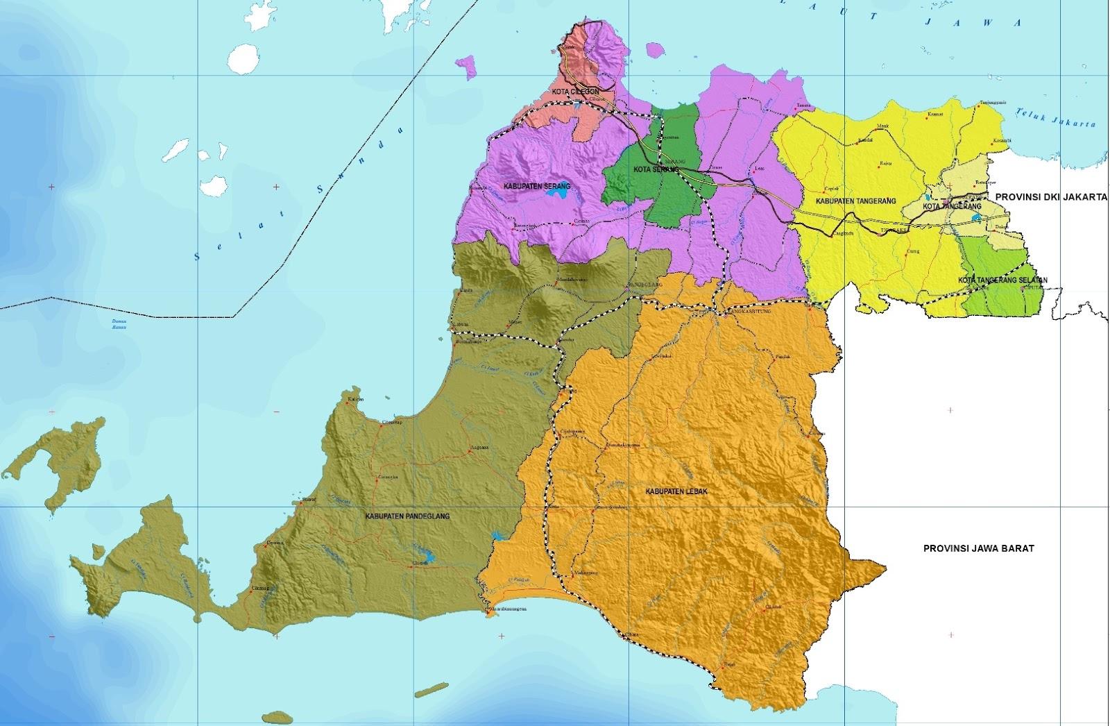 Peta Banten Lengkap Beserta Keterangan Gambarnya Gambar Kabupaten Kota Provinsi