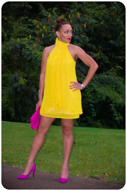 (OOP) Vogue 1240 Dress, made in Yellow Chiffon from Mood Fabrics | Erica Bunker