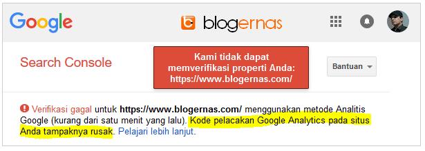 Sebab & Solusi Gagal Verifikasi Google Analytics