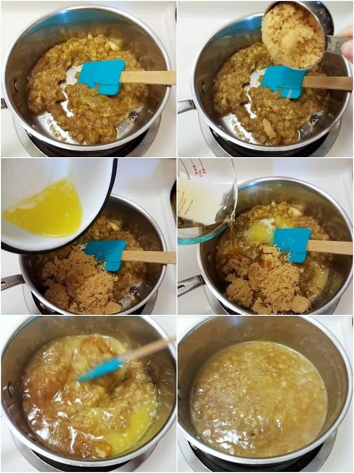 Preparación del bizcocho de banana: primera parte, caramelización de las bananas con azúcar y ron