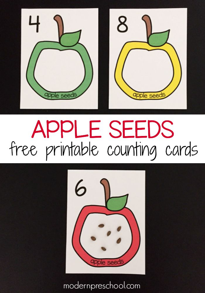 picture about Apples to Apples Cards Printable named Apple Seed Counting Playing cards