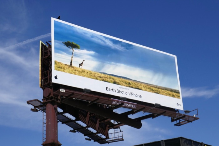 Earth Shot on iPhone Vincent R Giraffe billboard