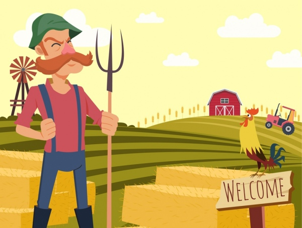 Agriculture farm drawing farmer hill cock icons Free vector