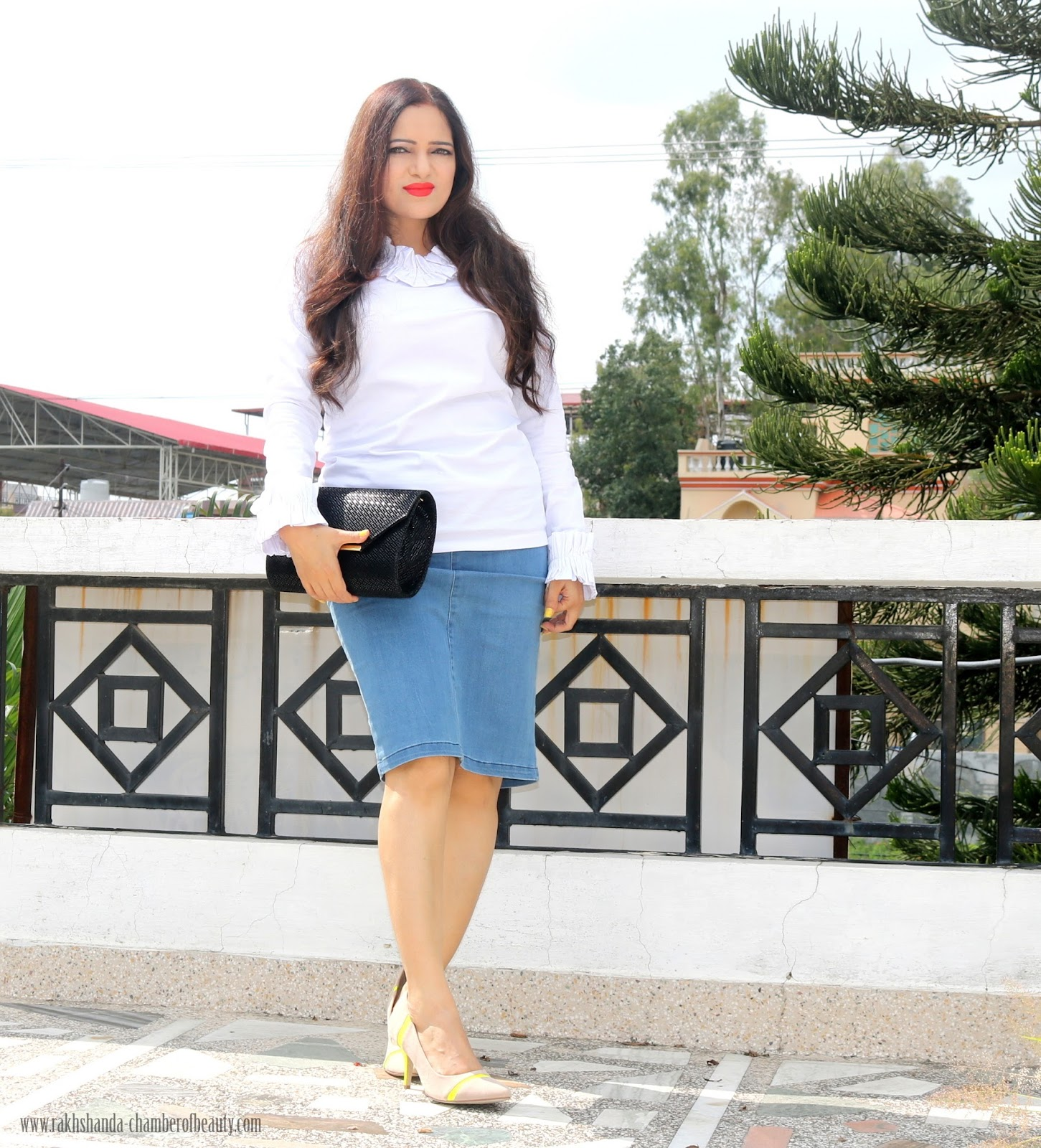 DAINTY JEWELL'S, BLOUSE, FASHION, INDIAN FASHION BLOGGER, STALKBUYLOVE, HOW TO STYLE A RUFFLED BLOUSE, OOTD,, DENIM SKIRT,Chamber of Beauty,