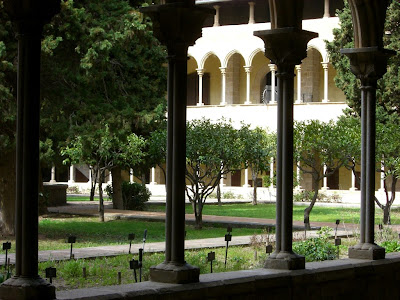 Gothic cloister of Pedralbes monastery in Barcelona