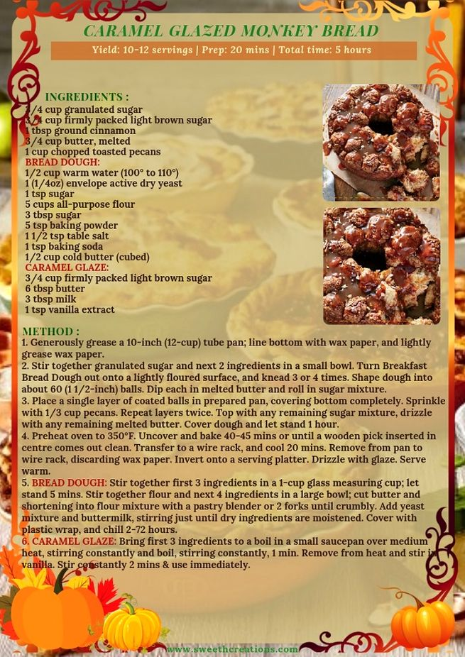 CARAMEL GLAZED MONKEY BREAD RECIPE
