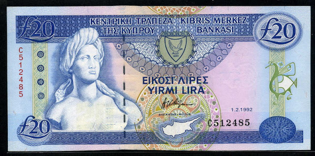 Cyprus currency 20 Cypriot pounds banknotes notes images
