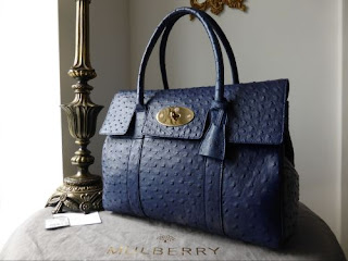Mulberry Bayswater in Cosmic Blue Ostrich Leather