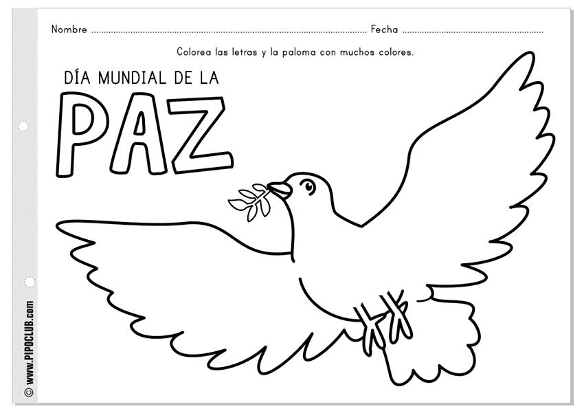 Maestra De Infantil Dibujos Para Colorear En El Día De La Paz