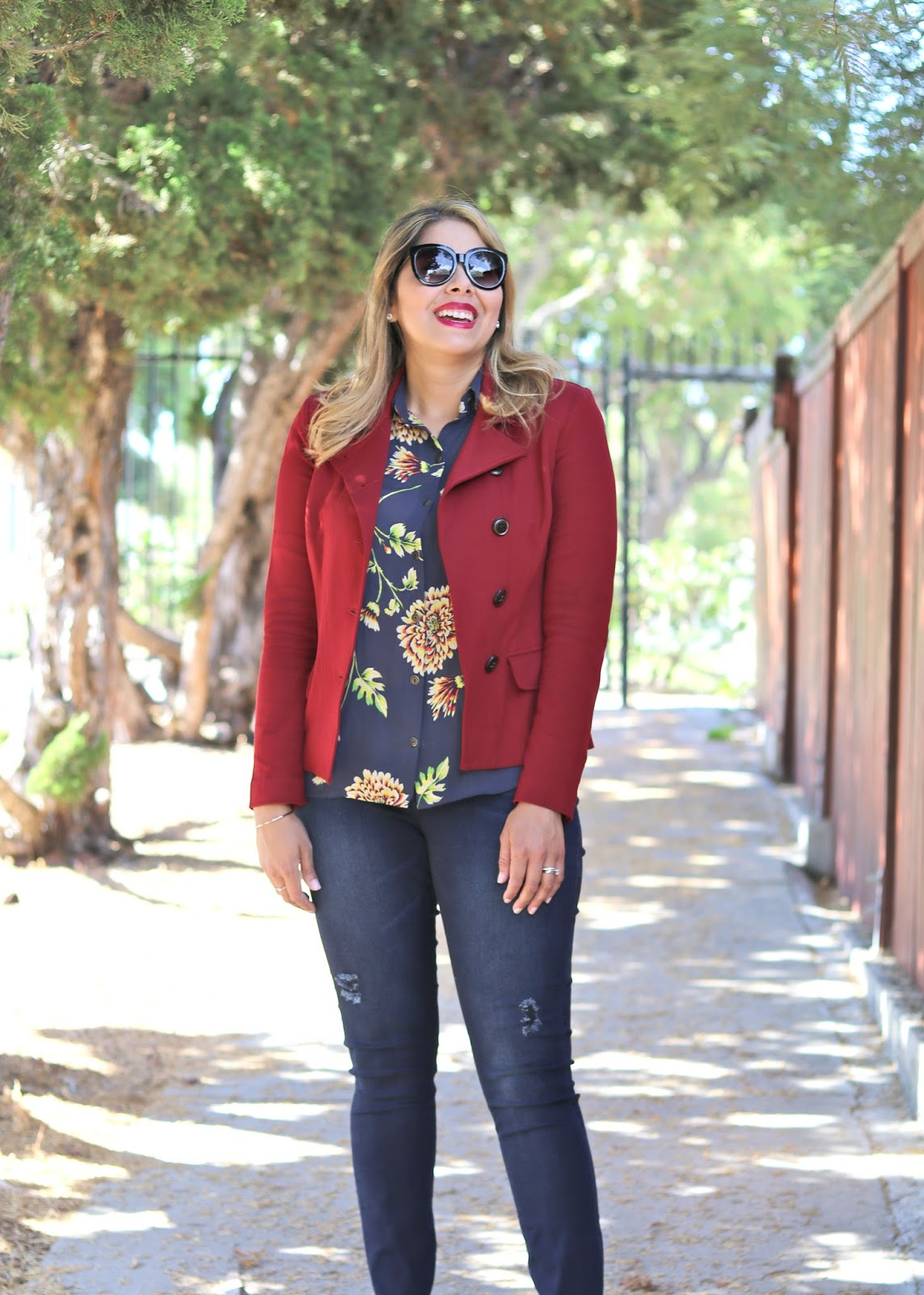 real women fashion, mexican fashion blogger, fall florals 2016, blazer and jeans outfit