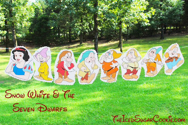 DIY Snow White And The Seven Dwarfs Birthday Party Flag Hanging Banner Ideas- Dopey, Grumpy, Sleepy, Doc, Sneezy, Bashful, Happy The Iced Sugar Cookie