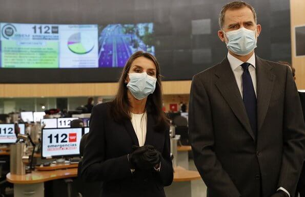 King Felipe and Queen Letizia of Spain visited the 112 Emergency Center in Madrid, Letizia wore Hugo Boss blouse