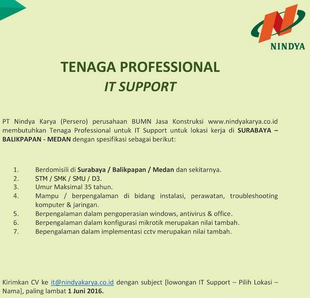 Lowongan Kerja IT Support Lulusan SMK PT Nindya Karya (Persero)