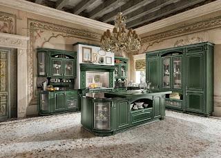 Cocina verde estilo clásico