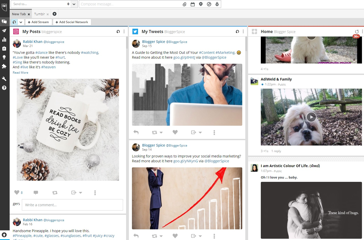 manage your social media from HootSuite Stream