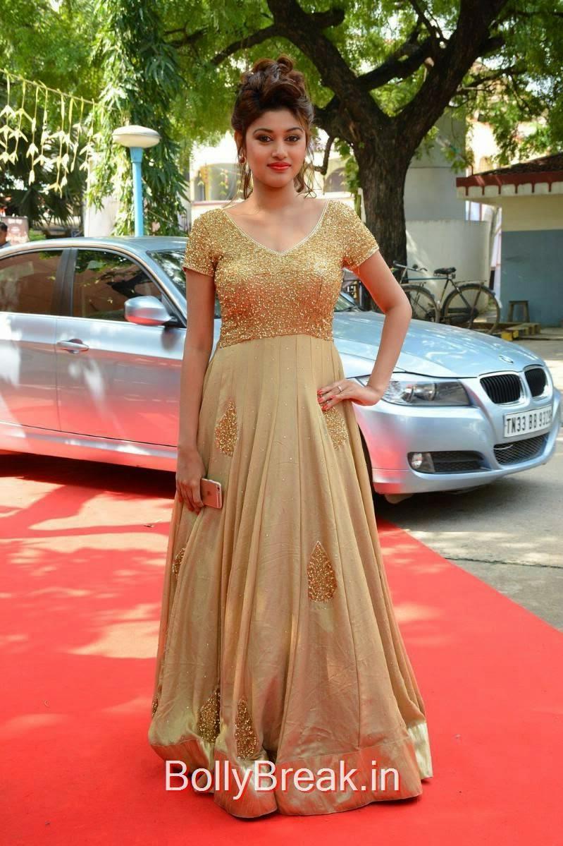 Tamil Actress Oviya, Oviya Hot Pics in golden dress from Sandamarutham Movie